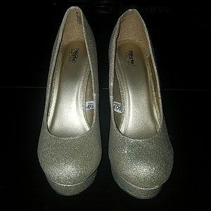 Gold platform glitter heels